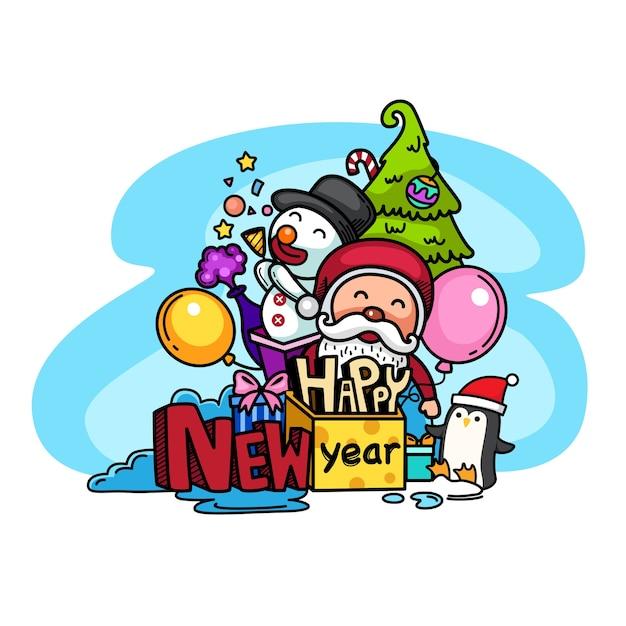 Hand getekend feest voor gelukkig nieuwjaar Premium Vector