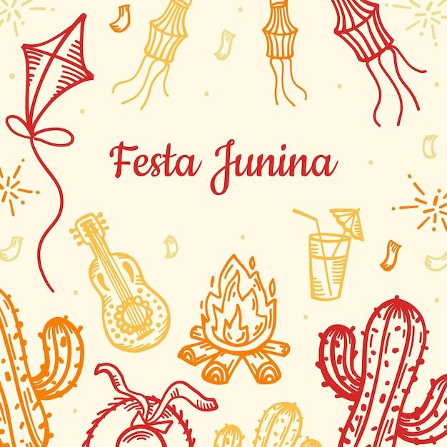 Hand getekend feestelijke festa junina illustratie Gratis Vector