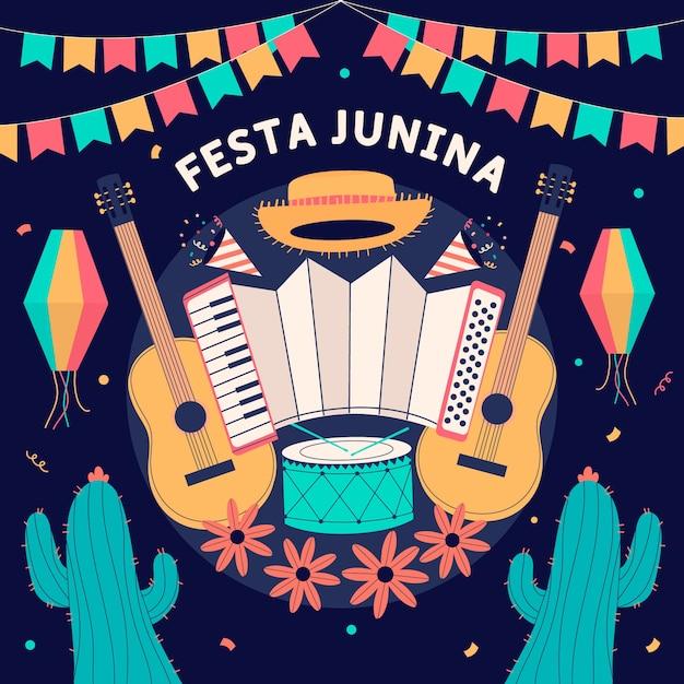 Hand getekend festa junina achtergrond met muziekinstrumenten Gratis Vector