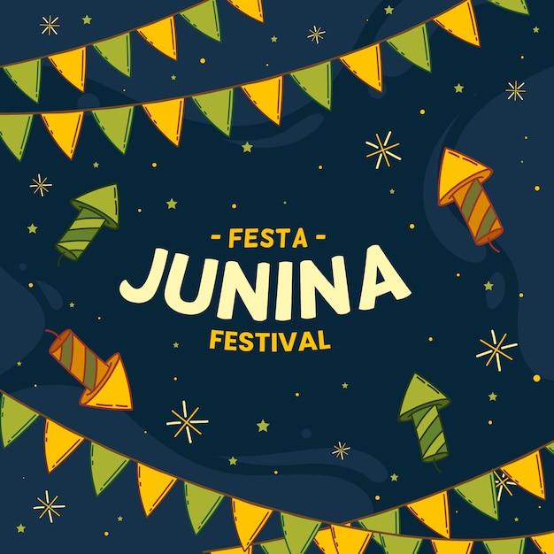 Hand getekend festa junina achtergrond Gratis Vector