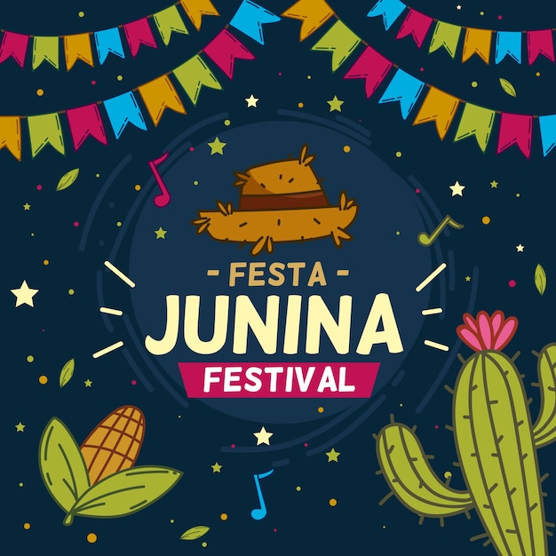 Hand getekend festa junina behang Gratis Vector