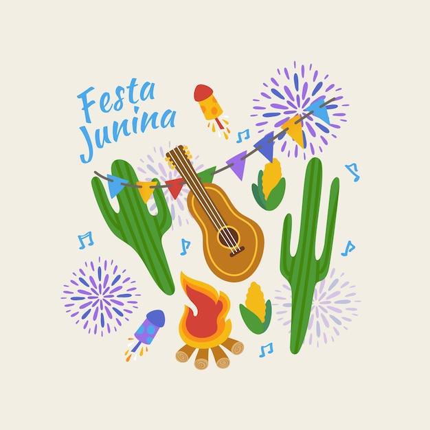 Hand getekend festa junina concept Gratis Vector