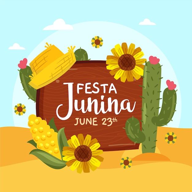 Hand getekend festa junina illustratie Gratis Vector