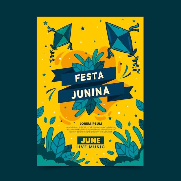 Hand getekend festa junina poster sjabloon Gratis Vector