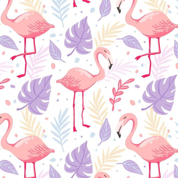 Hand getekend flamingo patroon met tropische bladeren Premium Vector