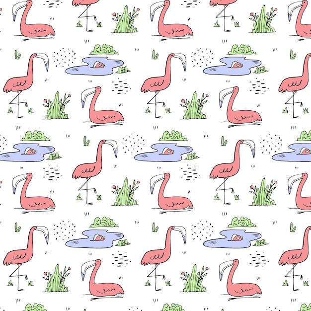 Hand getekend flamingo patroon Gratis Vector