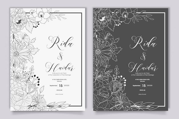 Hand getekend floral bruiloft uitnodiging ontwerp Premium Vector