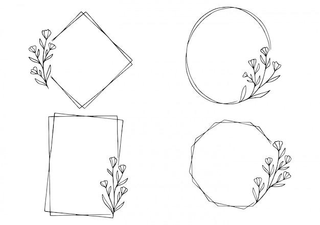 Hand getekend floral frame Premium Vector