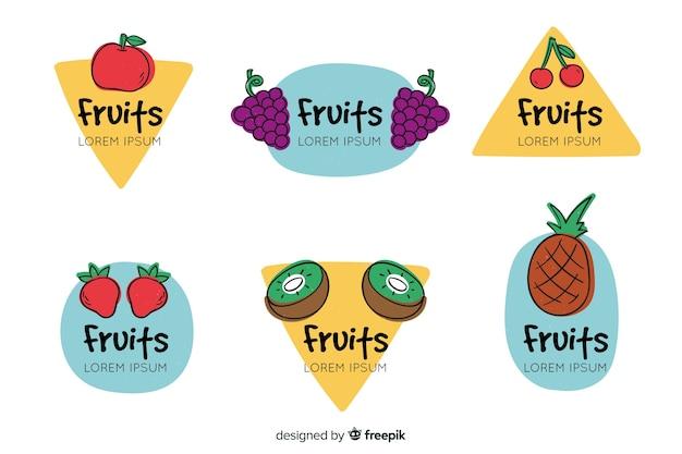 Hand getekend fruit label collectie Gratis Vector