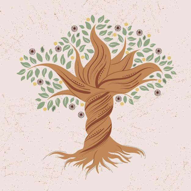Hand getekend gedraaid boomleven Gratis Vector