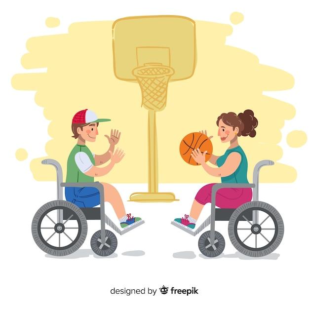 Hand getekend gehandicapte atleet achtergrond Gratis Vector