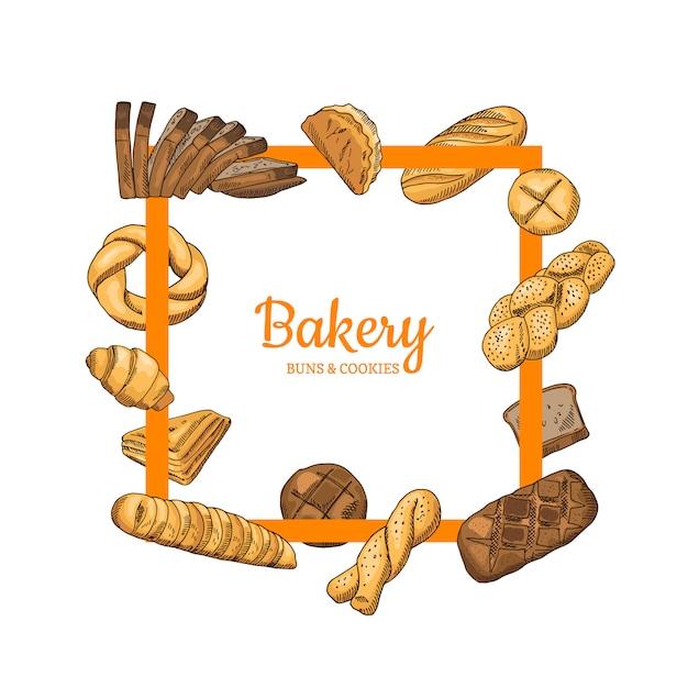 Hand getekend gekleurde bakkerij voedsel elementen eromheen Premium Vector