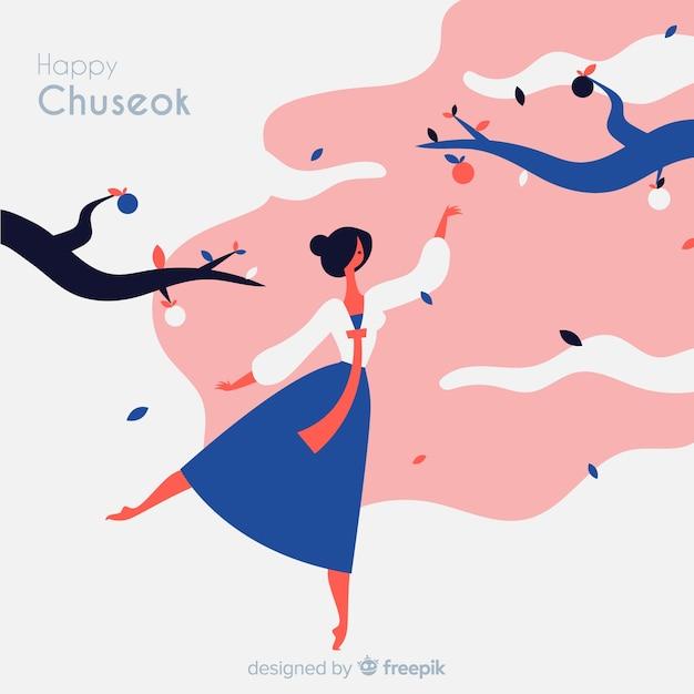 Hand getekend gelukkig chuseok achtergrond Gratis Vector