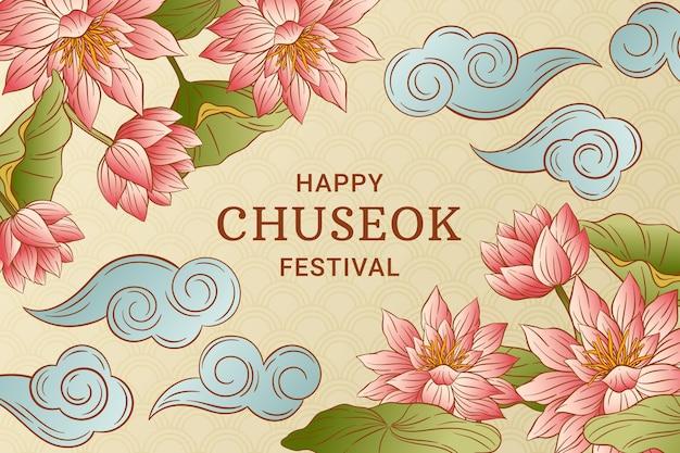 Hand getekend gelukkig chuseok concept Gratis Vector