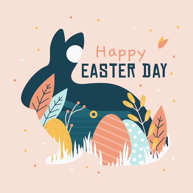 Hand getekend gelukkig paasdag konijn en eieren concept Gratis Vector
