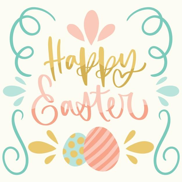 Hand getekend gelukkige paasdag eieren en linten Gratis Vector