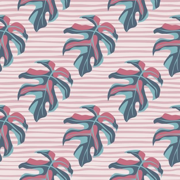 Hand getekend gestileerd naadloos monstera patroon. eenvoudige bladsilhouetten in pastelblauwe en roze tinten op lichte gestripte achtergrond. Premium Vector