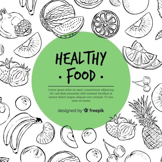 Hand getekend gezond voedsel achtergrond Premium Vector