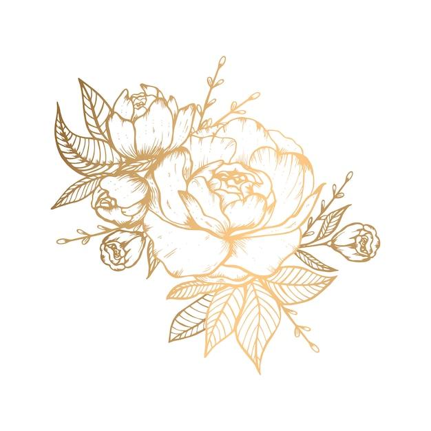 Hand getekend gouden bloemen illustratie met roos Premium Vector