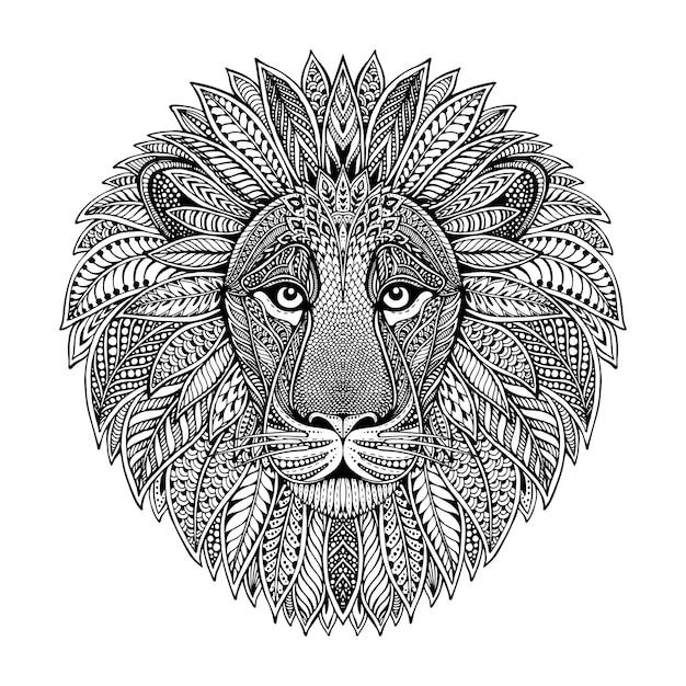 Hand getekend grafisch sierlijke hoofd van leeuw met etnische floral doodle patroon. illustratie voor kleurboek, tatoeage, print op t-shirt, tas. op een witte achtergrond. Premium Vector