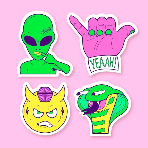 Hand getekend grappige sticker collectie met zure kleuren Gratis Vector