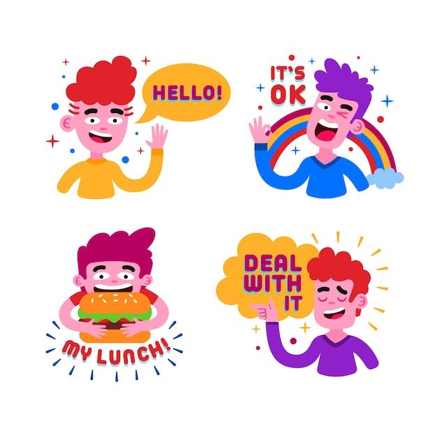 Hand getekend grappige sticker collectie Gratis Vector