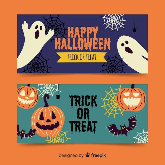 Hand getekend griezelige banners van halloween Gratis Vector