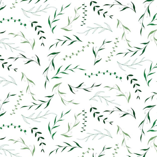 Hand getekend groen verlof patroon bloemen Premium Vector
