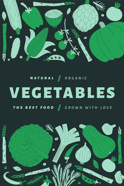 Hand getekend groenten poster Premium Vector
