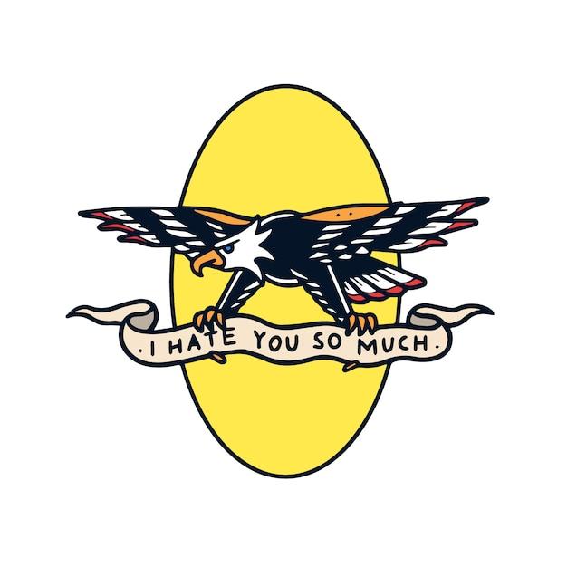 Hand getekend haat adelaar met banner old school tattoo illustratie Premium Vector