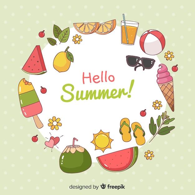 Hand getekend hallo zomer achtergrond Gratis Vector
