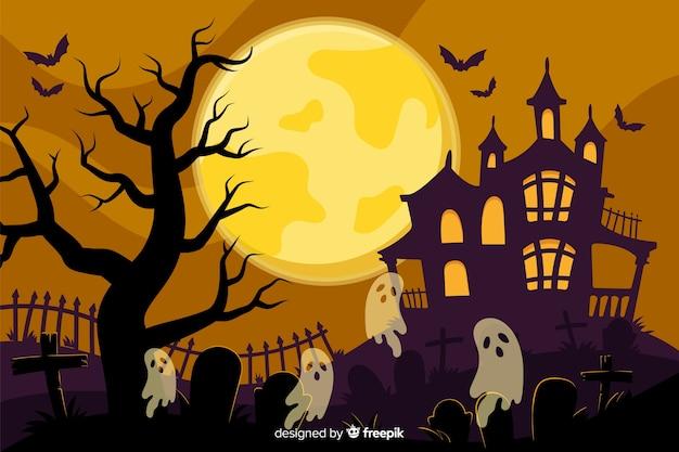 Hand getekend halloween achtergrond met spookhuis Gratis Vector