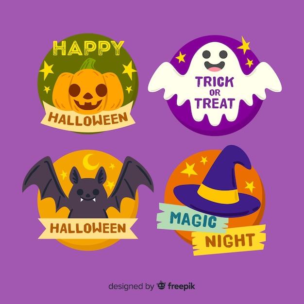 Hand getekend halloween badge collectie Gratis Vector