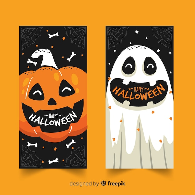 Hand getekend halloween banners pompoen en geest Gratis Vector