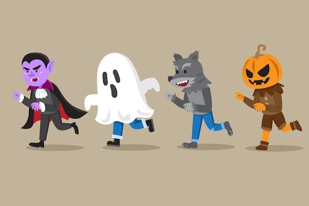 Hand getekend halloween character pack Gratis Vector