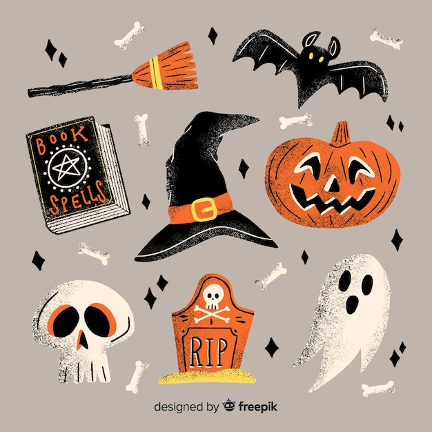 Hand getekend halloween element collectie met decoraties Gratis Vector