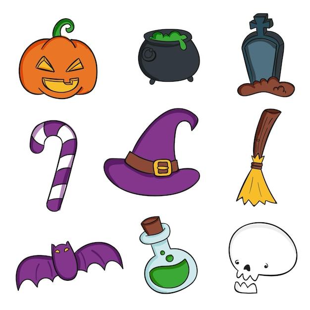Hand getekend halloween element collectie Gratis Vector