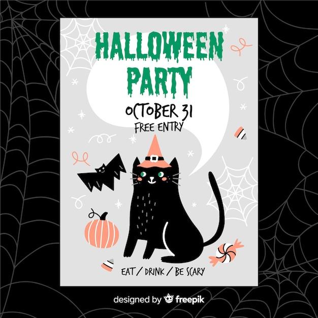 Hand getekend halloween flyer met zwarte kat Gratis Vector