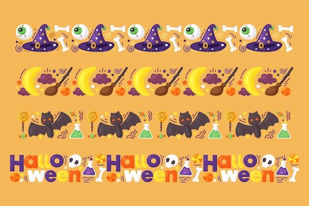 Hand getekend halloween grens collectie Gratis Vector