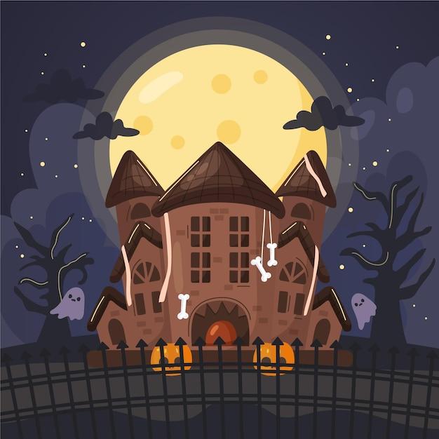 Hand getekend halloween huis Gratis Vector