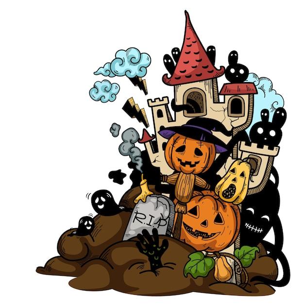 Hand getekend halloween illustratie. Premium Vector