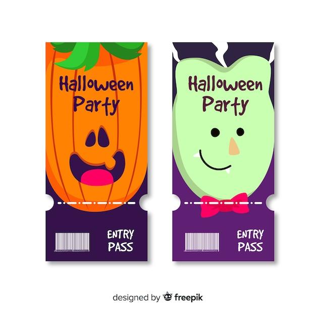 Hand getekend halloween kaartjes Gratis Vector