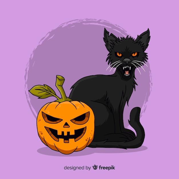 Hand getekend halloween kat Gratis Vector