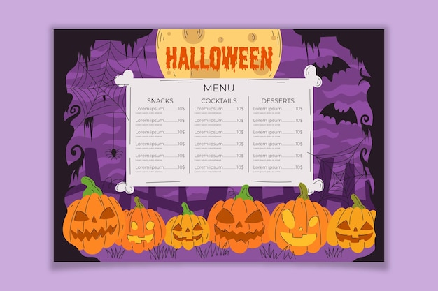 Hand getekend halloween menusjabloon Gratis Vector