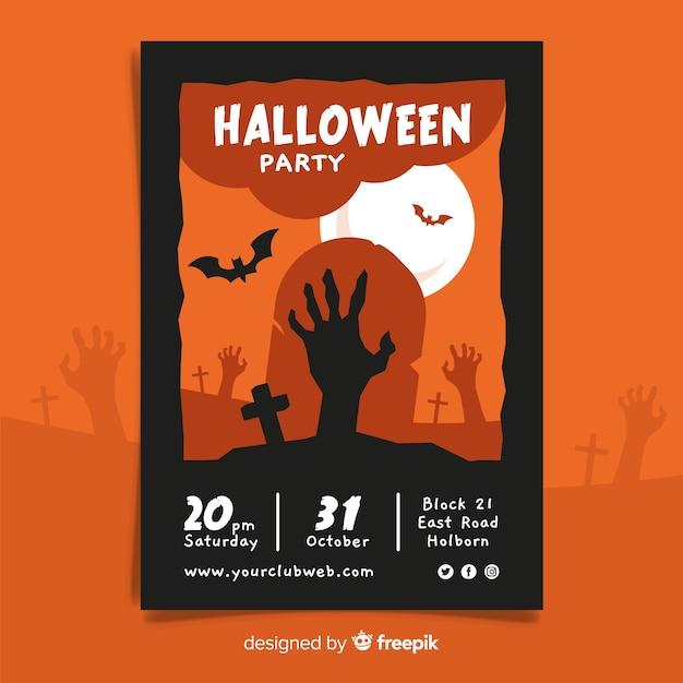 Hand getekend halloween partij poster sjabloon Gratis Vector