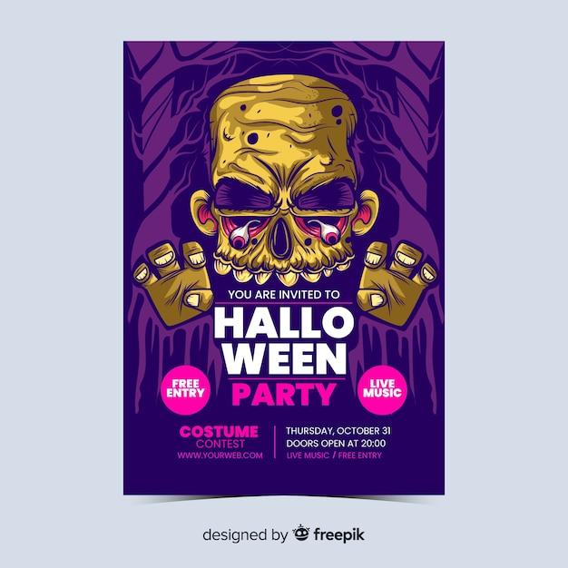 Hand getekend halloween partij poster Gratis Vector