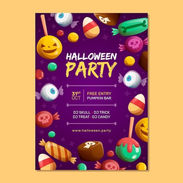 Hand getekend halloween party poster sjabloon Gratis Vector