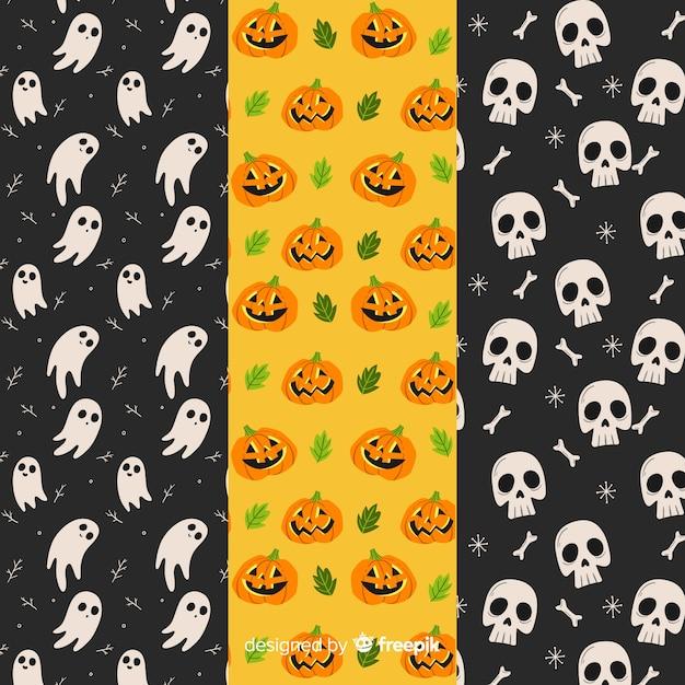 Hand getekend halloween patroon collectie Gratis Vector