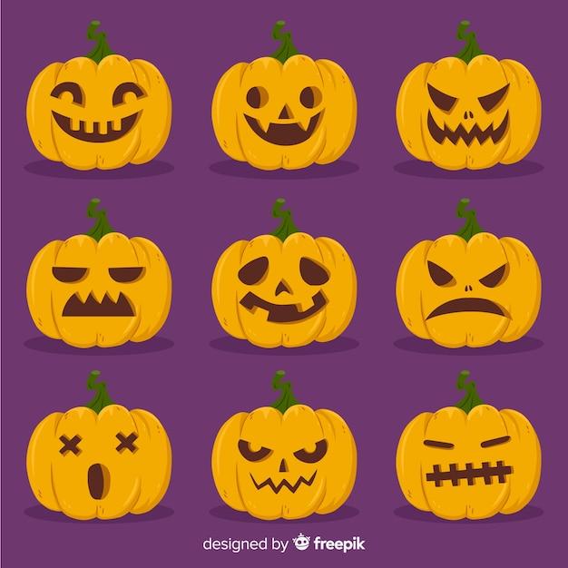 Hand getekend halloween pompoen collectie Gratis Vector