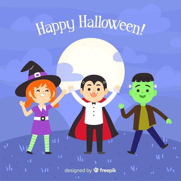 Hand getekend halloween schattige personages achtergrond Gratis Vector